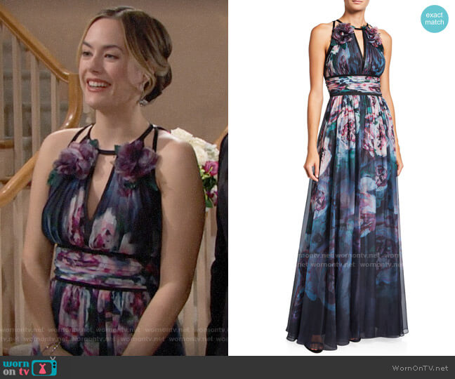 Marchesa Notte Watercolor Sleeveless Chiffon Gown with Satin Trim & Keyhole worn by Hope Logan (Annika Noelle) on The Bold & the Beautiful
