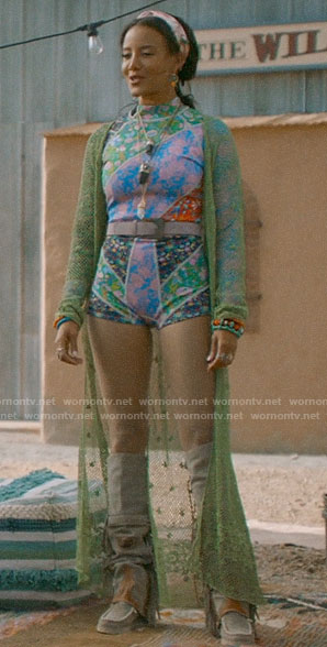 Maria's patchwork floral swimsuit on Roswell New Mexico