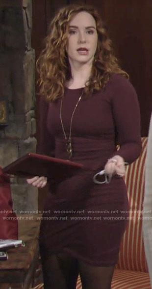 Mariah's burgundy long sleeved mini dress on The Young and the Restless