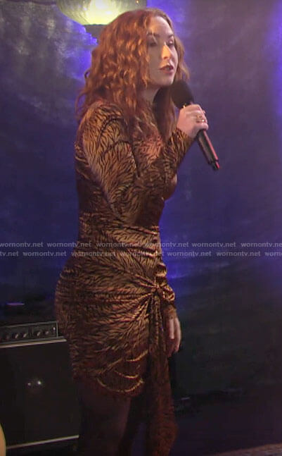 Mariah's gold tiger print dress on The Young and the Restless