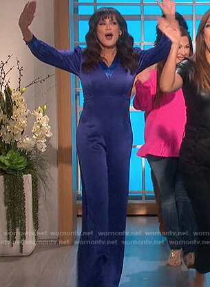Marie's blue v-neck jumpsuit on The Talk