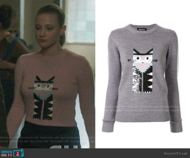 Markus Lupfer Cat Sweater worn by Betty Cooper (Lili Reinhart) on Riverdale