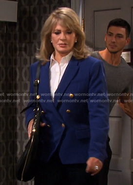 Marlena's blue double-breasted blazer on Days of our Lives