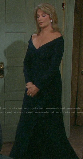 Marlena's navy off-shoulder gown on Days of our Lives