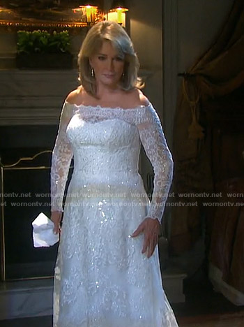 Marlena's off-shoulder wedding dress on Days of our Lives