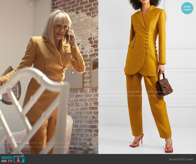 Button-Eetailed Twill Blazer and Pleated Twill Pants by Materiel worn by Giselle (Nicole Ari Parker) on Empire