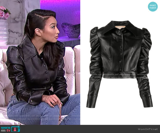 Cropped Faux-Leather Jacket by Materiel worn by Jeannie Mai  on The Real