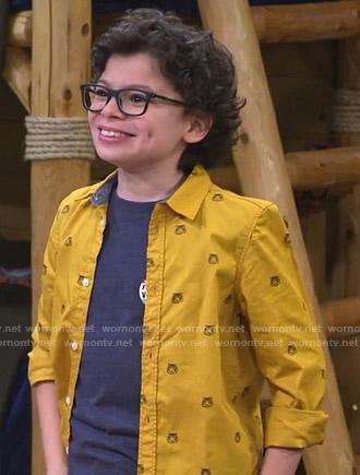 Matteo's yellow tiger print shirt on Bunkd