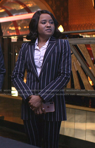 Maya's navy striped suit on Empire