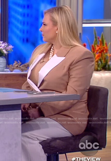 Meghan's beige contrast blazer on The View