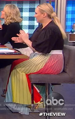 Meghan's pastel stripe midi skirt on The View