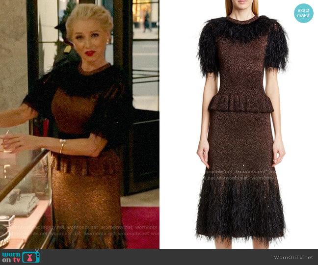 Michael Kors Feather Embellished Metallic Peplum Sweater Dress worn by  Gloria Grandbilt (Katherine LaNasa) on Katy Keene