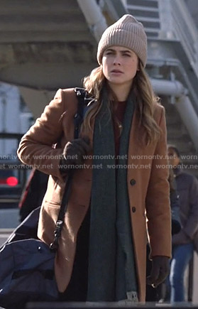 Michaela's brown wool coat on Manifest