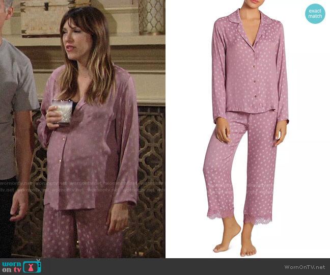 Midnight Bakery Polka Dot Jacquard Pajama Set worn by Chloe Mitchell (Elizabeth Hendrickson) on The Young & the Restless