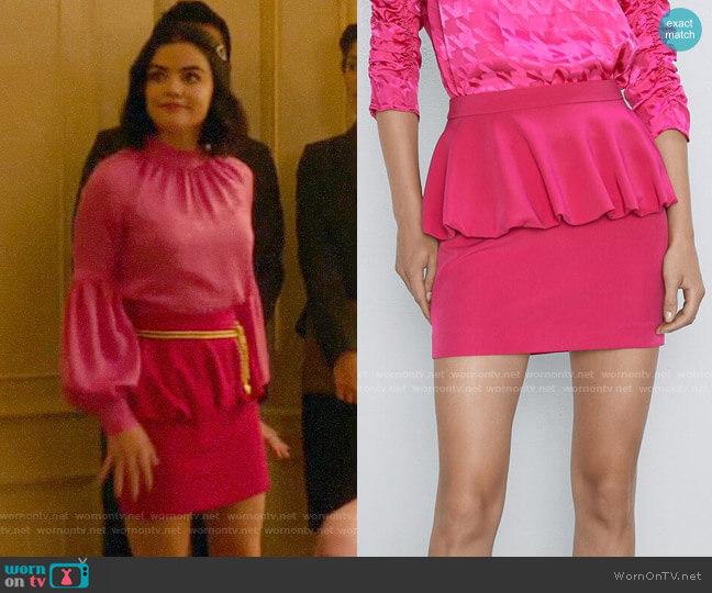 Zara Mini Balloon Skirt worn by Katy Keene (Lucy Hale) on Katy Keene