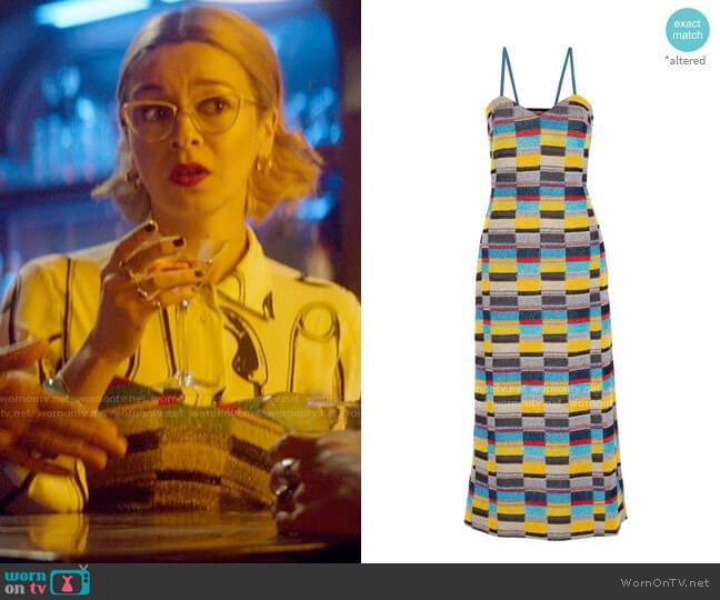 Missoni Metallic crochet-knit midi dress worn by Pepper Smith (Julia Chan) on Katy Keene