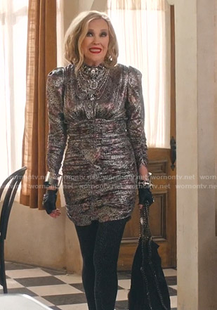 Moira's metallic printed ruched dress  on Schitts Creek