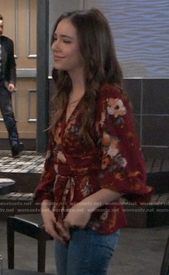 Molly's red floral wrap blouse on General Hospital