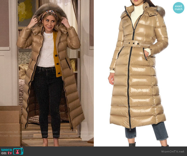 Moncler Hudson Long Puffer Coat worn by Ava Germaine (Chelsea Kane) on The Expanding Universe of Ashley Garcia