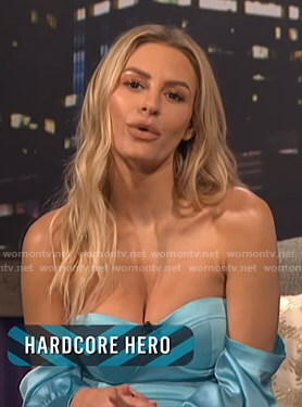 Morgan's blue satin off-shoulder dress on E! News Nighly Pop