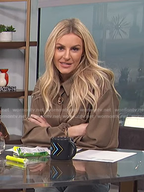 Morgan's brown button down shirt on E! News Daily Pop