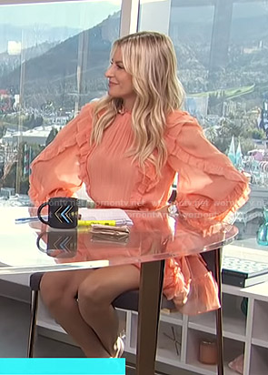Morgan's coral ruffled mini dress on E! News Daily Pop