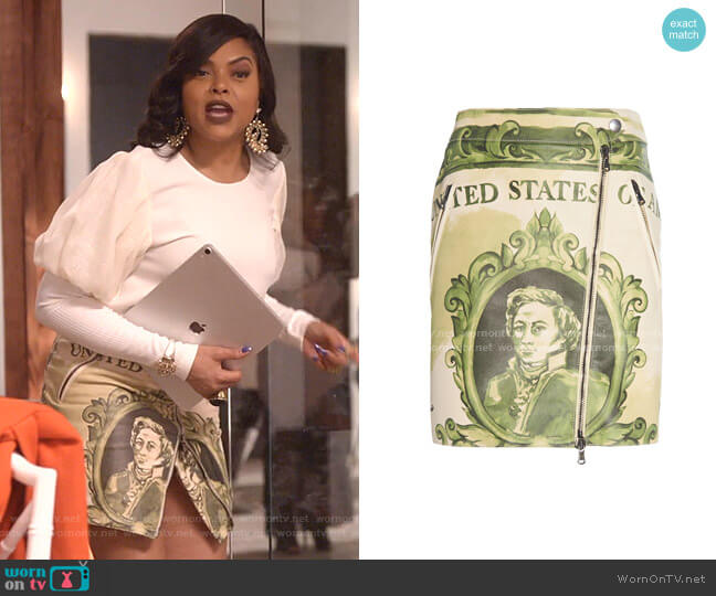 Zip-Detailed Printed Leather Mini Skirt by Moschino worn by Cookie Lyon (Taraji P. Henson) on Empire