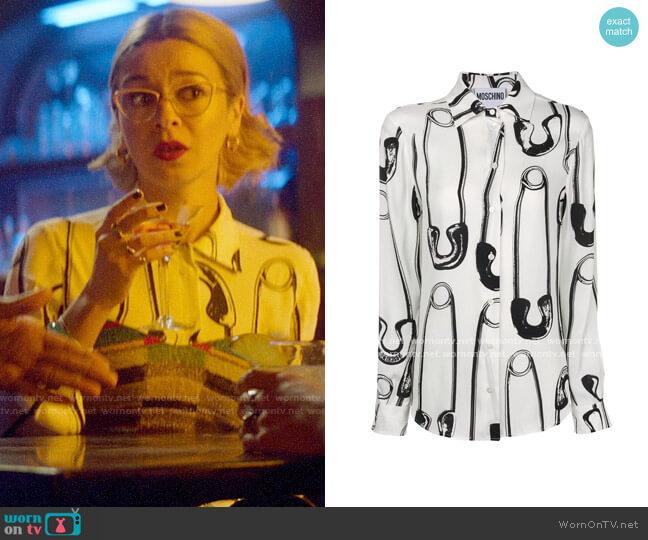 Moschino Safety Pin Print Shirt worn by Pepper Smith (Julia Chan) on Katy Keene