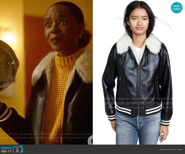 Mother The Faux Fur-Lined Bomber Jacket worn by Josie McCoy (Ashleigh Murray) on Katy Keene