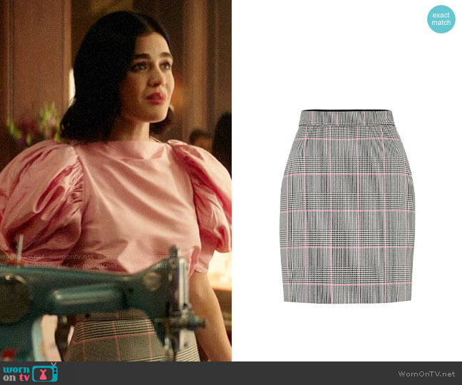 MSGM Check cotton-blend miniskirt worn by Katy Keene (Lucy Hale) on Katy Keene