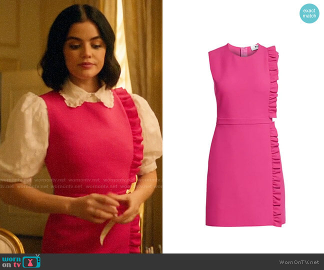 MSGM Sleeveless Side Ruffle Crepe Mini Dress worn by Katy Keene (Lucy Hale) on Katy Keene