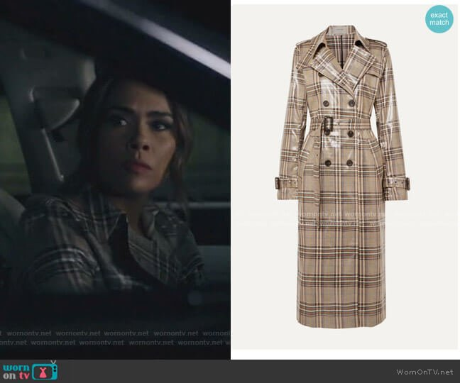 Handsome Checked Vinyl Trench Coat by Munthe worn by Cristal Jennings (Daniella Alonso) on Dynasty