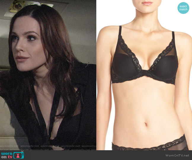 Natori Feathers Bra in Black worn by Tessa Porter (Cait Fairbanks) on The Young & the Restless