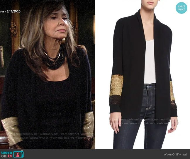 Neiman Marcus Cashmere Collection Two-Way Sequin-Sleeve Cashmere Cardigan worn by Jill Abbott (Jess Walton) on The Young & the Restless