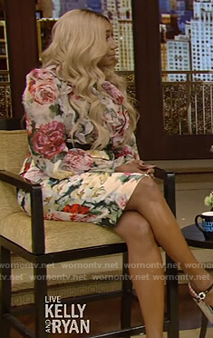Nene Leakes floral ruffle blouse on Live with Kelly and Ryan