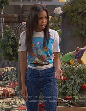 Nia's blue leopard jeans on Ravens Home