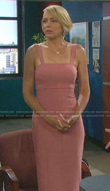Nicole's pink square neck pencil dress on Days of our Lives