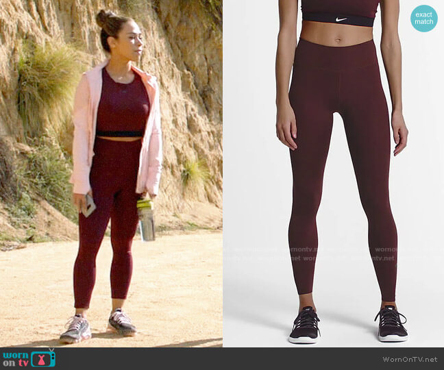 Nike Maroon One Luxe Tights worn by Emily Lopez (Jessica Camacho) on All Rise