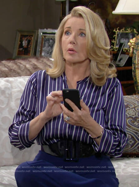 Nikki's blue striped button down blouse on The Young and the Restless