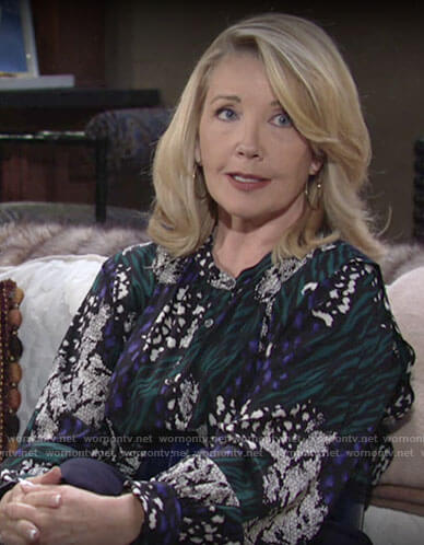 Nikki's mixed animal print blouse on The Young and the Restless