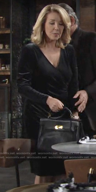 Nikki's velvet long sleeve dress on The Young and the Restless