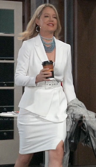 Nina's white belted blazer on General Hospital
