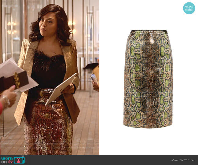 Fantasia Sequinned Snake-Pattern Pencil Skirt by No.21 worn by Cookie Lyon (Taraji P. Henson) on Empire