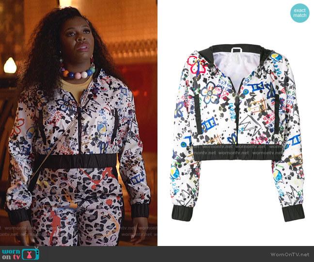 Kuku Moe Cropped Track Jacket by No Ka Oi worn by Porsha Taylor (Ta'Rhonda Jones) on Empire