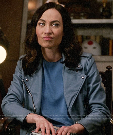 Nora's blue leather moto jacket on Legends of Tomorrow