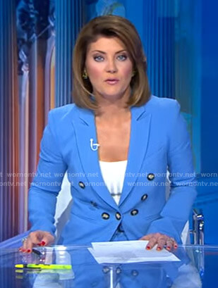 Norah's blue peak lapel blazer on CBS Evening News