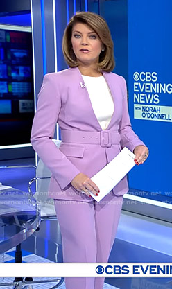Norah's lilac lapelless jacket and pants on CBS Evening News