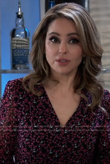 Olivia's black floral belted dress on General Hospital