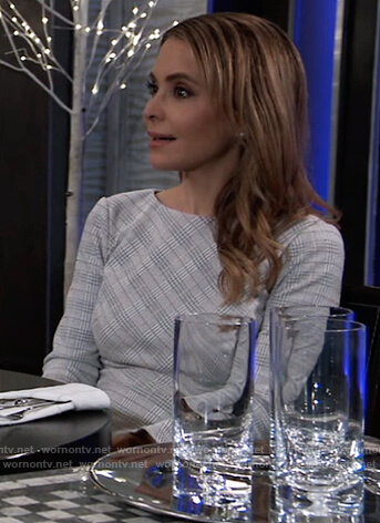 Olivia's white plaid bell-sleeve dress on General Hospital