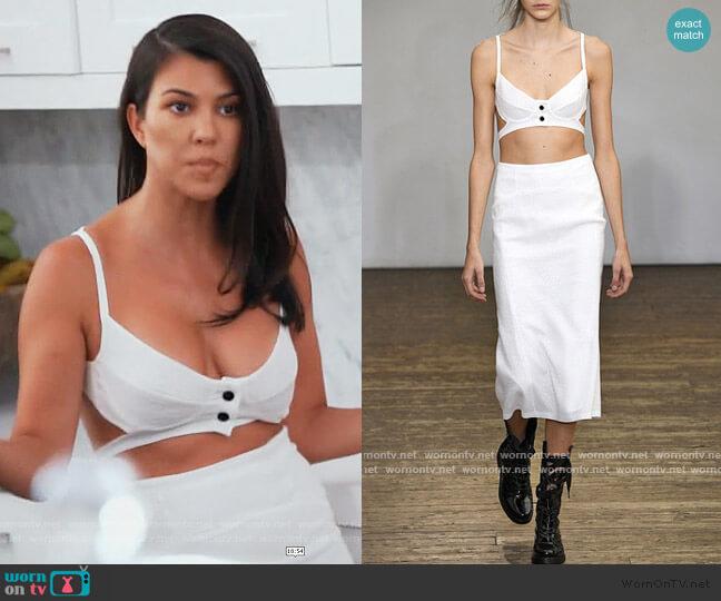 Tardo Silk Blend Harness Bra and Tardo High Waist Skirt by Olivier Theyskens worn by Kourtney Kardashian  on Keeping Up with the Kardashians